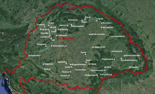 Localisation des villes citées dans l'article sur la carte de la Hongrie historique.